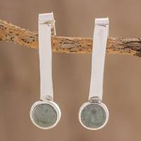 Jade drop earrings, 'Apple Green Timeline' - Modern Apple Green Jade Drop Earrings from Guatemala