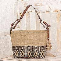 Leather accent cotton shoulder bag, 'Maya Ixcaco'