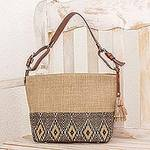 Leather-Accented All Cotton Maya Style Shoulder Bag, 'Maya Ixcaco'