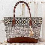 Natural Cotton and Black Diamond Motif Leather Accent Tote, 'Mayan Chic'