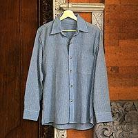 Men's long-sleeved cotton shirt, 'Pacific Ocean'