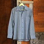 Blue Striped Long-Sleeved Men's Cotton Shirt from Guatemala, 'Pacific Ocean'