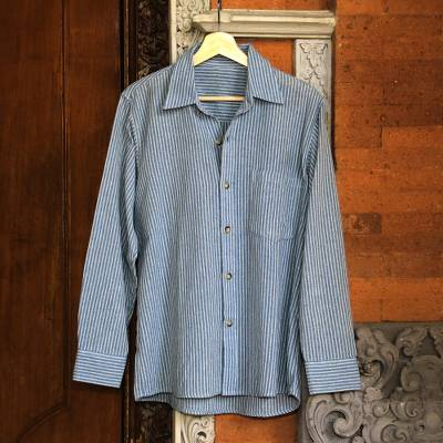 Men's long-sleeved cotton shirt, 'Pacific Ocean' - Blue Striped Long-Sleeved Men's Cotton Shirt from Guatemala