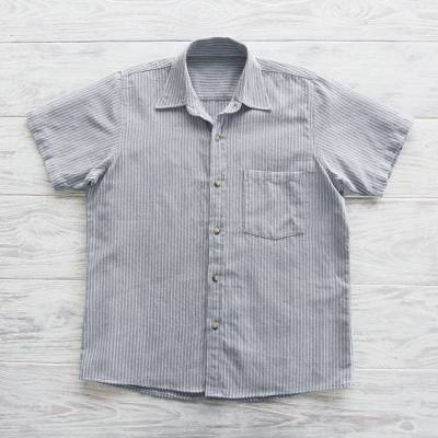 Mens short-sleeved cotton shirt, Pacific Ocean