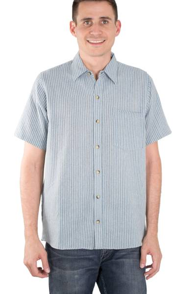 Men's short-sleeved cotton shirt, 'Pacific Ocean' - Blue Striped Short-Sleeved Men's Cotton Shirt