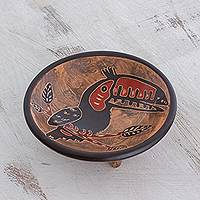Ceramic decorative bowl, 'Talkative Toucan' - Black Toucan Earth-Tone Chorotega Pottery Decorative Bowl