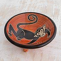 Ceramic mini decorative bowl, 'Costa Rican Monkey' - Monkey-Themed Ceramic Mini Decorative Bowl from Costa Rica