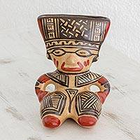 Ceramic statuette, 'Ancient Wisdom' - Orange and Brown Seated Man Chorotega Pottery Statuette