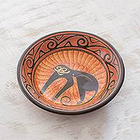 Ceramic decorative bowl, 'Mischief in the Trees' - Handcrafted Orange Monkey Chorotega Pottery Decorative Bowl