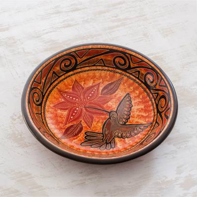 Ceramic decorative bowl, 'Hummingbird's Delight' - Orange Hummingbird Chorotega Pottery Decorative Bowl