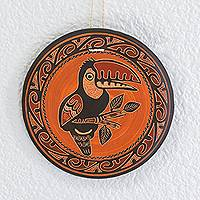 Ceramic wall art, 'Toucan's Call' - Earth-Toned Toucan Chorotega Pottery Decorative Wall Art