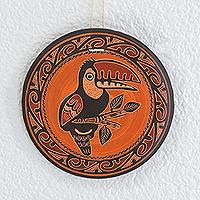 Ceramic wall art, 'Toucan's Call' - Earth-Toned Toucan Chorotega Pottery Decorative Wall Art