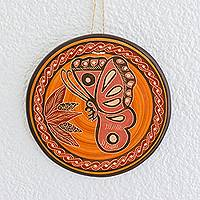 Ceramic wall art, 'Nourished by Nectar' - Orange Hummingbird Chorotega Pottery Decorative Wall Art