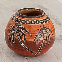 Ceramic mini decorative vase, 'Life on the Ocean' - Palm Tree Ceramic Mini Decorative Vase from Costa Rica