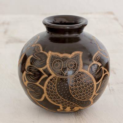Ceramic decorative vase, 'San Juan Owl' - Handcrafted Ceramic Decorative Vase from Nicaragua