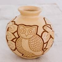Ceramic decorative vase, 'San Juan Owl in Beige' - Handcrafted Ceramic Decorative Vase from Nicaragua