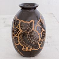 Ceramic decorative vase, 'Nicaraguan Owl' - Handcrafted Ceramic Decorative Vase from Nicaragua