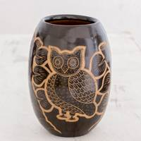 Ceramic decorative vase, 'Wisdom and Intuition in Black' - Handcrafted Ceramic Decorative Vase from Nicaragua