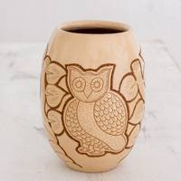 Ceramic decorative vase, 'Wisdom and Intuition in Beige' - Handcrafted Ceramic Decorative Vase from Nicaragua