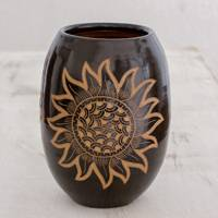 Ceramic decorative vase, 'San Juan Sunflower' - Handcrafted Ceramic Decorative Vase from Nicaragua