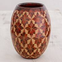Ceramic decorative vase, 'San Juan Stars' - Handcrafted Ceramic Decorative Vase from Nicaragua