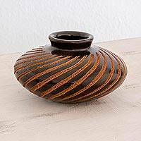 Ceramic decorative vase, 'Spiral Glory' - Handcrafted Terracotta Decorative Vase from Nicaragua