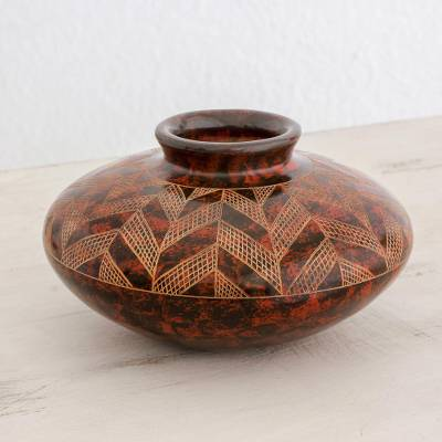 Ceramic decorative vase, 'Our Earth' - Handcrafted Ceramic Decorative Vase from Nicaragua