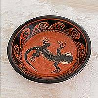 Ceramic decorative bowl, 'Gecko' - Gecko Motif Ceramic Decorative Bowl from Costa Rica