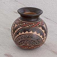 Ceramic decorative vase, 'Ancient Sunrise' - Handcrafted Ceramic Decorative Vase from Costa Rica