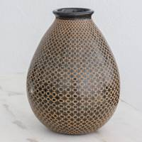 Ceramic decorative vase, 'Nicaraguan Voyage' - Nicaraguan Pear Shaped Ceramic Vase with Geometric Pattern