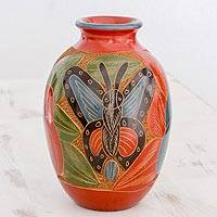 Ceramic decorative vase, 'Tropical Butterfly' - Hand Etched Ceramic Vase with Butterfly and Flower Design