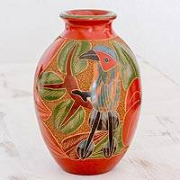 Ceramic decorative vase, 'Nicaraguan Pride' - Nicaraguan Terracotta Decorative Vase with Bird Design