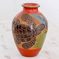 Ceramic decorative vase, 'Sea Tortoise' - Nicaraguan Ceramic Vase Hand Decorated with Sea Turtle