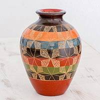 Ceramic decorative vase, 'Harmonious Geometry' - Nicaraguan Ceramic Vase with Striped Geometric Design
