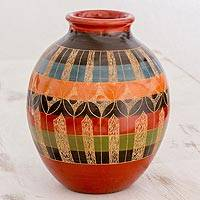 Ceramic decorative vase, 'Geometric Illusion' - Colorful Decorative Ceramic Vase with Geometric Pattern