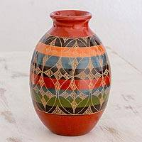 Ceramic decorative vase, 'Graceful Symmetry' - Nicaraguan Decorative Ceramic Vase with Hand Etched Design