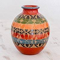 Ceramic decorative vase, 'Poetic Pattern' - Round Decorative Ceramic Vase with Geometric Petal Pattern