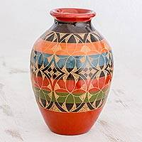 Ceramic decorative vase, 'Yesteryear's Flowers' - Striped Decorative Ceramic Vase Hand Etched from Nicaragua