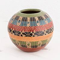 Ceramic decorative vase, 'Traces of Time' - Nicaraguan Striped Multicolored Artisan Crafted Ceramic Vase