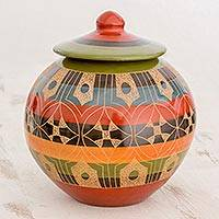 Ceramic decorative lidded jar, 'Nicaraguan Stories' - Round Lidded Ceramic Jar with Etched Design from Nicaragua