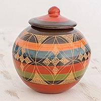 Ceramic decorative lidded jar, 'Inspired Elegance' - Round Decorative Ceramic Lidded Jar with Geometric Design