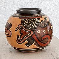 Ceramic decorative vase, 'Mysticism' - Pre-Hispanic Ceramic Decorative Vase from Costa Rica