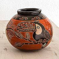 Ceramic decorative vase, 'Jungle Life' - Handmade Toucan Ceramic Decorative Vase from Costa Rica