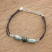 Jade pendant bracelet, 'Treasure Trio' - Handcrafted Jade Bead Trio Pendant Wristband Bracelet