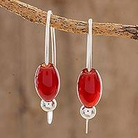 Agate drop earrings, 'Fiery Fruit' - Red Agate Beaded Drop Earrings from Guatemala