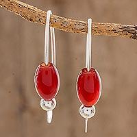 Agate drop earrings, 'Fiery Fruit'