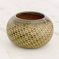 Ceramic decorative vase, 'Mesmerizing Geometry' - Green and Natural Geometric Pattern Ceramic Decorative Vase