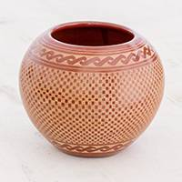 Ceramic decorative vase, 'Elegant Checks' - Terracotta and Natural Check Pattern Ceramic Decorative Vase