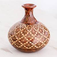 Ceramic decorative vase, 'Starburst Symmetry' - Terracotta Starburst Pattern Ceramic Decorative Vase