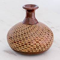 Ceramic decorative vase, 'Spiral Steps' - Handcrafted Dark Red and Natural Ceramic Decorative Vase